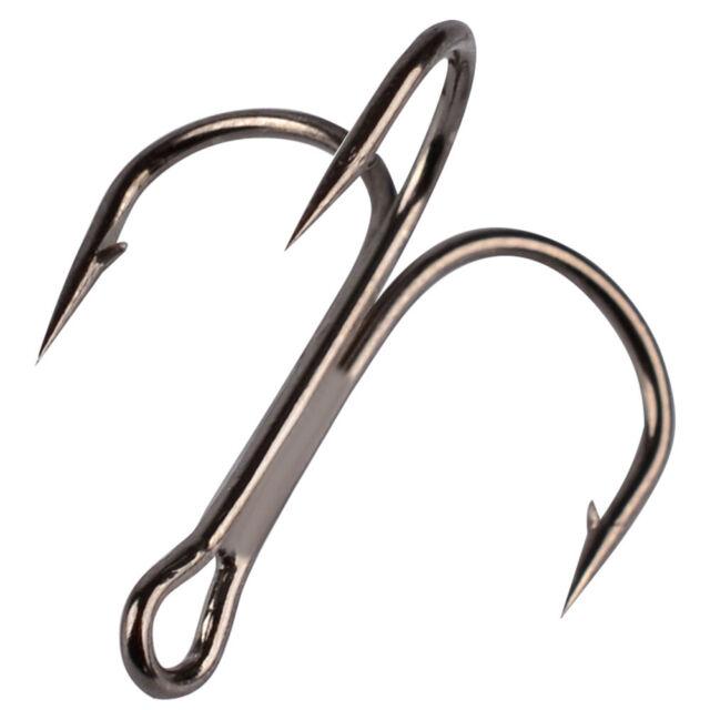 Lot 100 x Fishing Hook Sharpened Treble Hooks 1//0# 2//0# 2//4//6//8//10//12# Silver