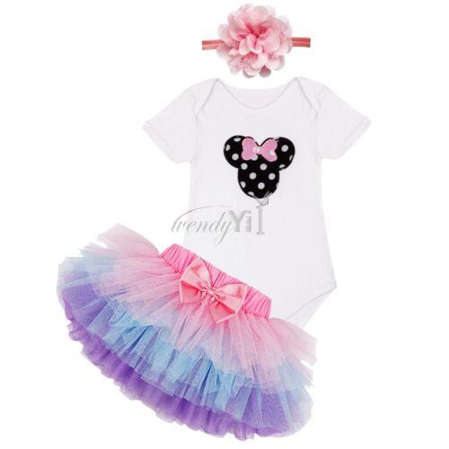 3PCS Baby Girls 1st Birthday Romper Tutu Skirt Dress Party Headband Clothes Set