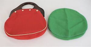 Vintage-80-039-s-Red-White-Bermuda-Bag-Handbag-Purse-Wooden-Handle-Extra-Green-Cover