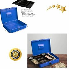 Cash Box Locking Petty Safe With Removable 5 Slot Coin Tray And Key Entry