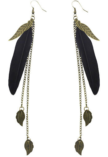 F1932F Black Feather Earrings Chain Leaf Dangle Eardrop Fashion Handmade Jewelry