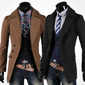 Men Slim Trench Coat Winter New Long Jacket Warm Formal Dress Tops ...