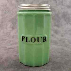 Jadeite Green Glass Tall Flour Jar Canister W Metal Lid
