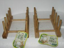 7'' Wooden Plate Rack Wood Dish Stand Display Holder 4 Section Rack set OF 2