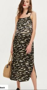 0e9c9981396aa Image is loading BNWT-Topshop-Maternity-Strappy-Khaki-Camouflage-Slip-Dress-