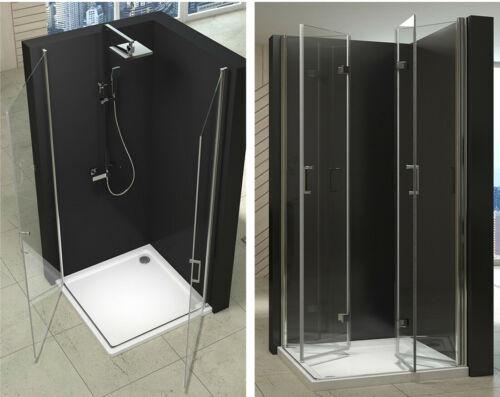 Duschkabine Eckeinstieg Falttür Duschwand Echtglas Duschtasse Duschabtrennung