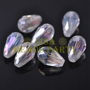 New-20pcs-16X10mm-Faceted-Teardrop-Crystal-Glass-Spacer-Loose-Beads-Clear-AB