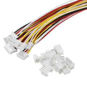 10 SETS Mini Micro JST 2.0 PH 4-Pin Connector plug with Wires Cables 300MM