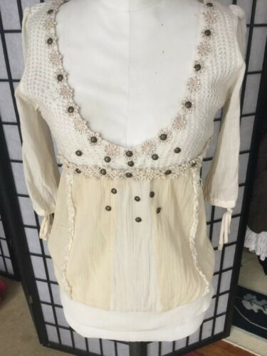 free people boho embellished white top peasant blo