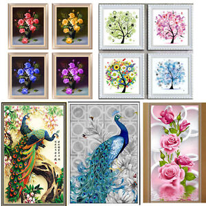 5d Diamond Embroidery Painting Diy Home Decor Craft Flower Peacock