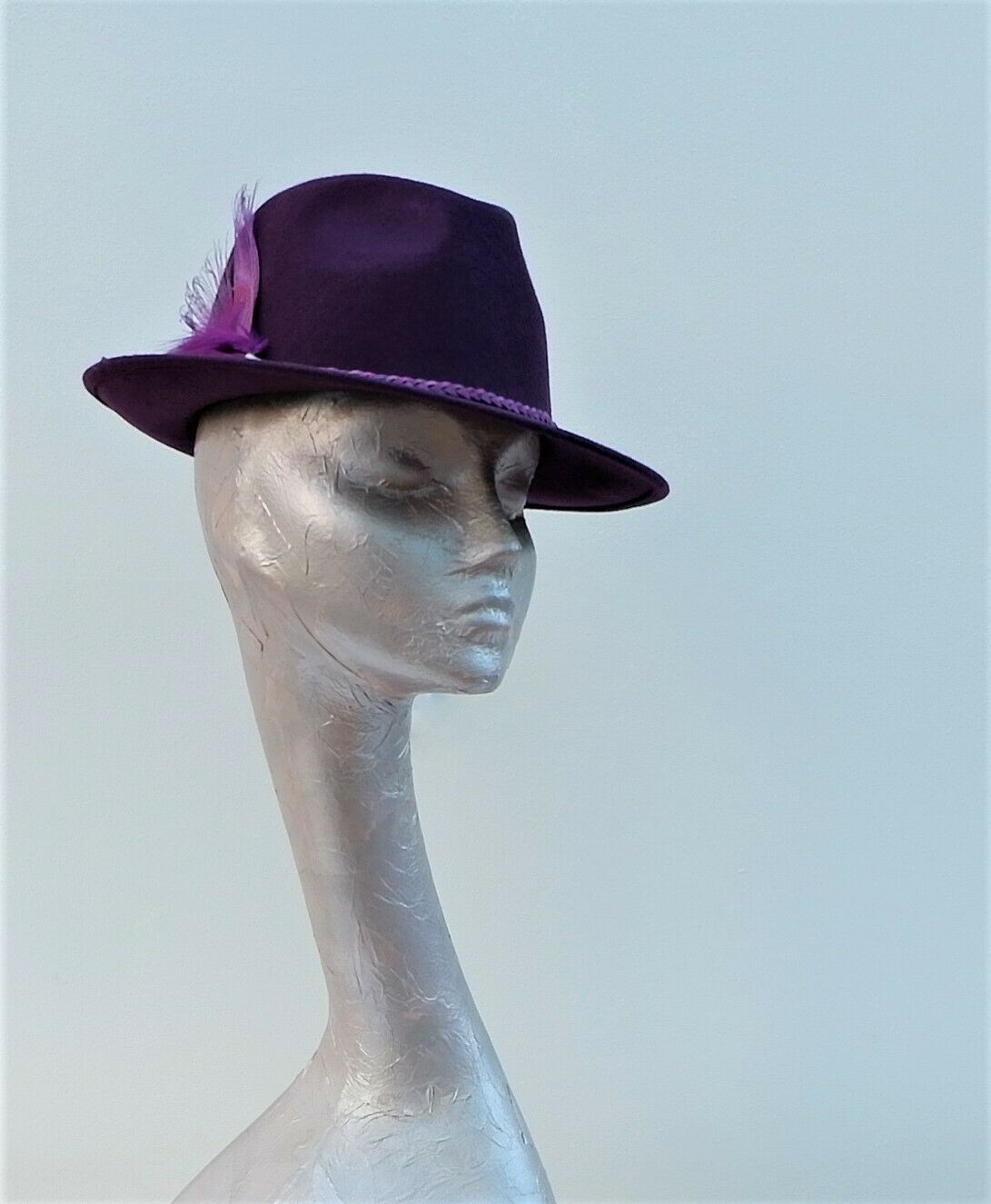 Plum Rigid Felt Ladies Trilby by Hats2go Millinery by Marie-Anne