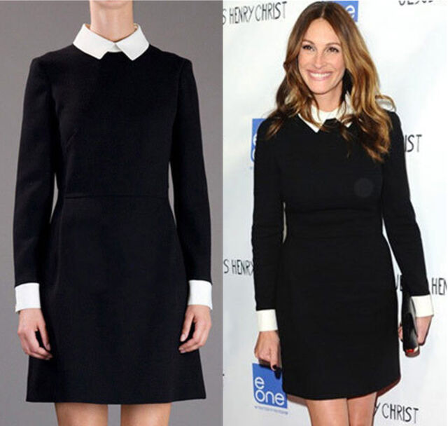 265927b6827 Womens Black Block Shift White Collar Cuff Fit Long Sleeve Peter Pan Mini  Dress