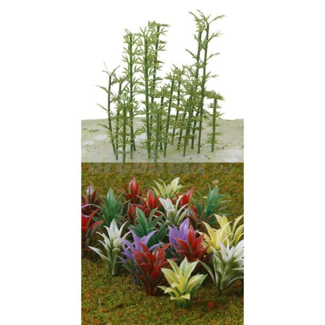 100 Model Bamboo Trees 4 Scale & 100 Mixed Flowering Plants Train Railway Scenes