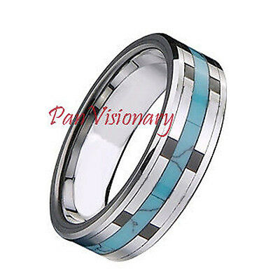 Clearance Tungsten Carbide Ring Wedding Band 5mm Turquoise & Black Inlays