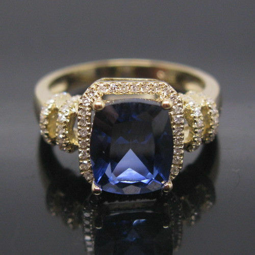 14KT Yellow gold 1.50 Carat Natural bluee Tanzanite IGI Certified Diamond Ring