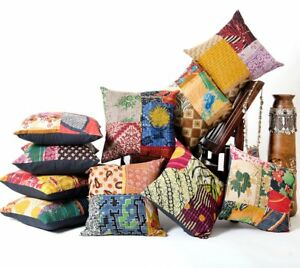 Indian-Handmade-Kantha-Patch-Cushion-Cover-Decor-Sofa-Pillow-Case-5-PC-LOT-Multi