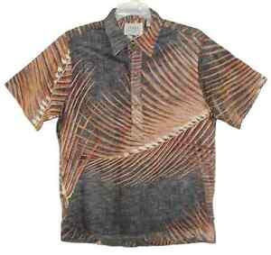 Sz-M-Vintage-HRH-His-Royal-Highness-Hawaiian-Pullover-Shirt-Reverse-Palm-Fronds