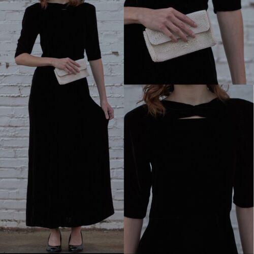 VINTAGE 1930's Black SILK VELVET GOWN DRESS Old H… - image 1