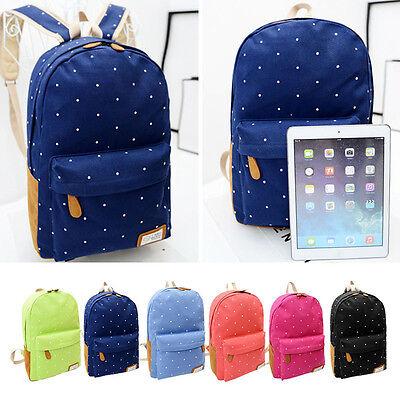 Sport Womens Backpack Canvas Polka Dot Girl School Shoulder Bag Hikking Rucksack