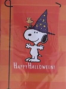 Image Is Loading Peanuts SNOOPY Fall HAPPY HALLOWEEN Garden Flag 12
