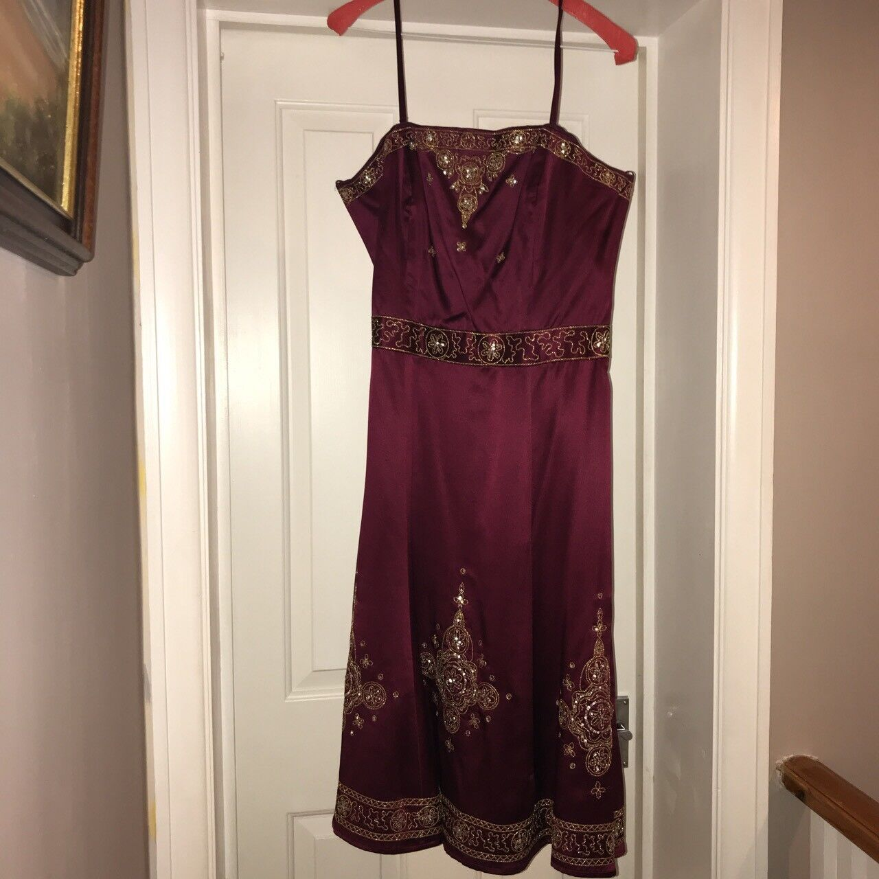 Debenhams dark Red Purple 100% silk dress dress dress (with gold embroidery), size 14 484108