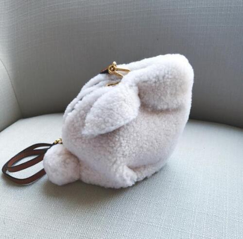 Women Girls Fashion Cute Bunny Real Leather Fur Saddle Shoulder Mini Bag Handbag