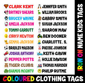 10-IRON-ON-CHARACTER-Personalised-Name-School-Labels-Tags-Kids-Uniform-Clothes