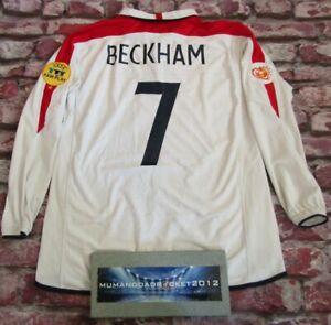 LONG SLEEVE England euro 2004 BECKHAM football shirt jersey trikot MENS XL