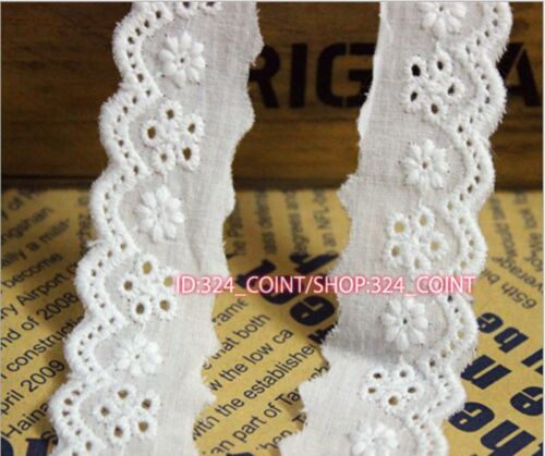 HB189 2 Yards,Floral Embroidered Cotton Eyelet Lace Trim White 2.2cm Wide Sewing