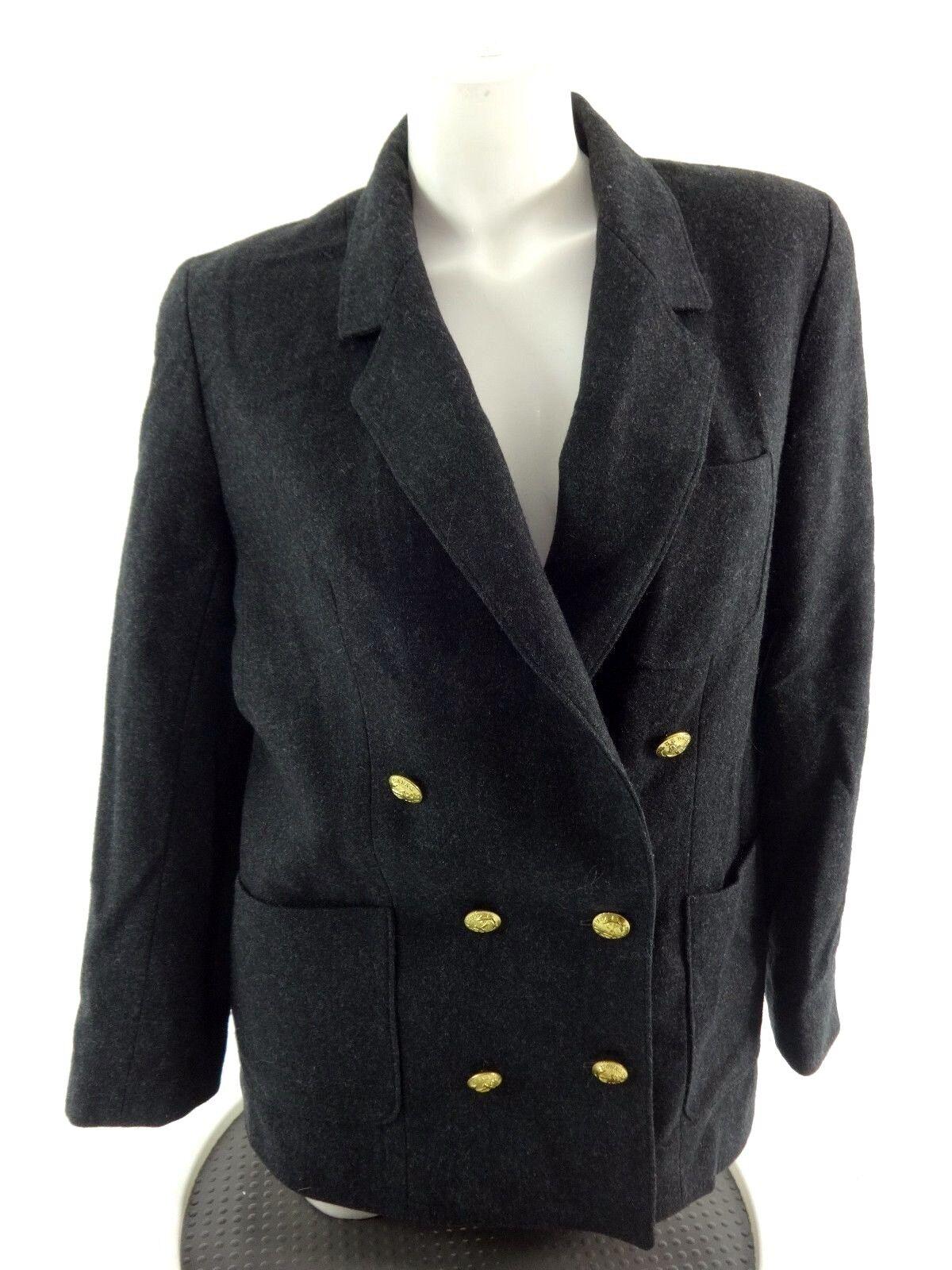 Vintage la la la Bonne Womens Charcoal Laine Veste Blazer Taille 10 a2d6ba