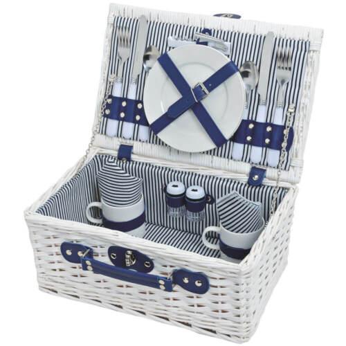 Picknickkorb 2 Personen Weidenkorb weiß blau 16-tlg inkl Mehrweg Geschirr