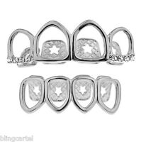Grillz Set Four Full Open Face Tooth Silver Tone Top & Bottom Row Teeth Grills