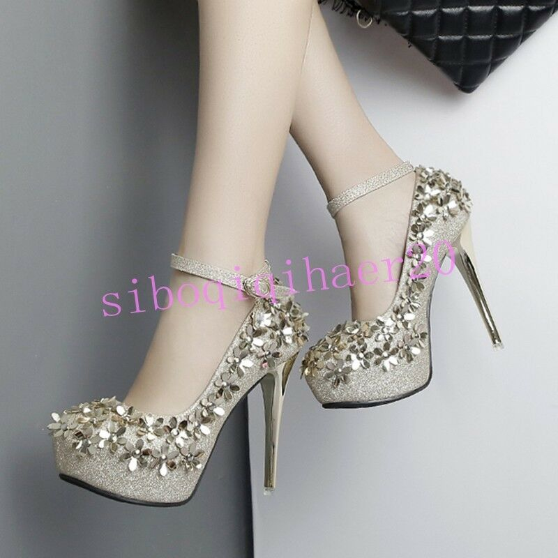 Sexy Donna Wedding Shoes Bridals Flowers Pumps Ankle Buckle Stilettos Heel Size