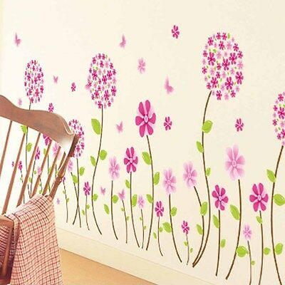 Removable Decals DIY Home Art Decor Lovely Pink Flowers Kids Room Wall Stickers