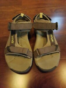 new product b8fda 52662 Details about Teva Womens 7.5 Open Toachi Taupe Yellow Leather Sport  Sandals 6021 Slingbacks