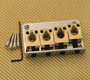 BB-8888-0BS Large Brass Saddle High-Mass 4 String Thru Bass Bridge