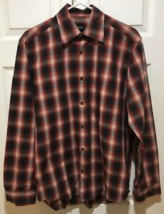 HUGO-BOSS-Men-039-s-Medium-Red-Gray-White-and-Black-Plaid-Long-Sleeve-Shirt