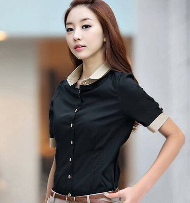 Women OL Career Lapel Cotton Blend Botton T-Shirt Short sleeve Blouse Tops S-XXL