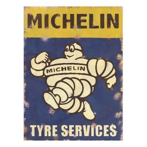 Metal-Garage-Sign-Michelin-Tyres-Vintage-Advertising-Retro-Plaque-Shed-Classic