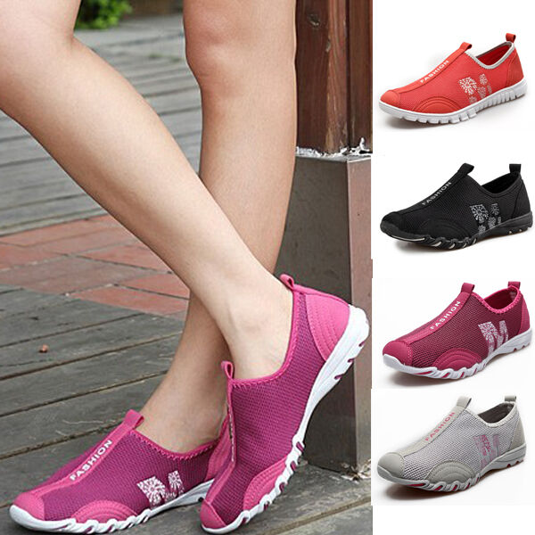Women Mesh Soft Comfortable Sneaker Sport Casual Shoes Slip on Trainers XWB013