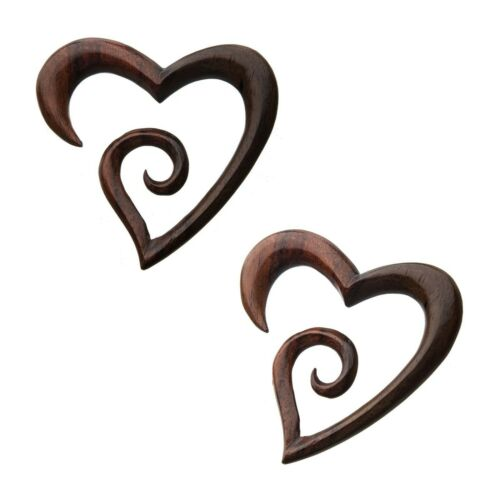 PAIR-Tapers Hangers Wood Sono Carved Fancy Heart 06mm//2 Gauge Body Jewelry