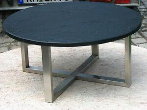 runder couchtisch schiefertisch beistelltisch schieferplatte schwarz edelstahl ebay. Black Bedroom Furniture Sets. Home Design Ideas