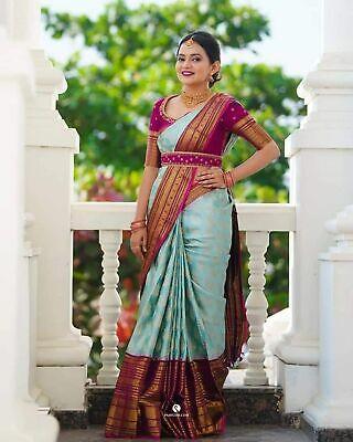 Indian Saree Designer Bollywood Silk Party Wear Sari Ethnic Wedding Blouse SN