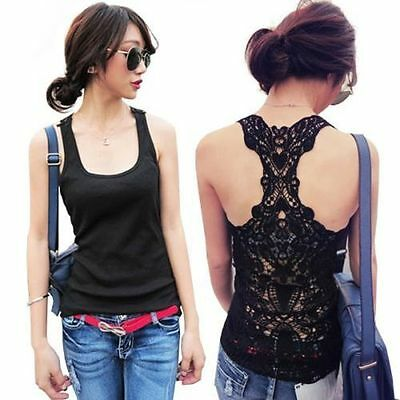 New Sexy Women's Lace Flower Tank Top Sexy Cami Sleeveless Casual Cotton T-Shirt