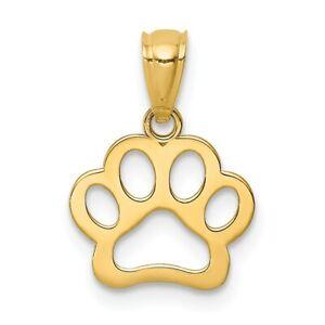 14K-Dog-Paw-Pendant-New-Charm-Yellow-Gold