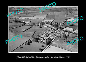 OLD-POSTCARD-SIZE-PHOTO-CHURCHILL-OXFORDSHIRE-ENGLAND-TOWN-AERIAL-VIEW-c1950