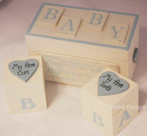 Baby Tooth /& Curl Blue Boxes Shabby Chic Style Gift Christening Birth F0824B
