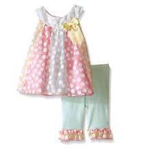 NWT Baby Girls Bonnie Baby Snowman Appliqué Legging Dress Set 6//9M