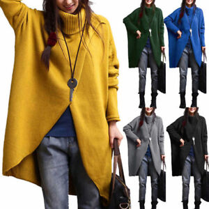 Women-039-s-Fashion-Turtleneck-Asymmetric-Hem-Long-Sleeve-Sweater-Jumper-Cardigans