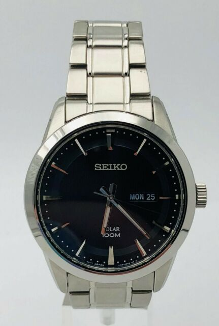 Seiko Solar SNE361 Mens Stainless Bracelet Day Date 100M Blue Dial 43mm Watch